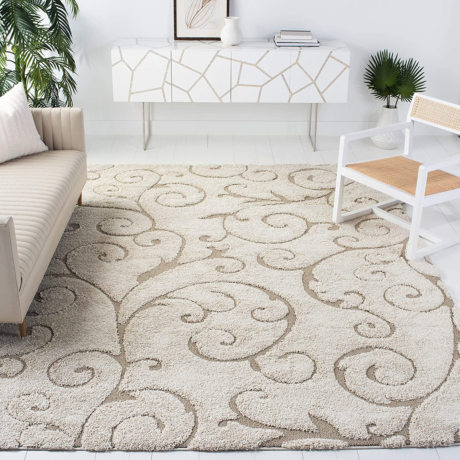 Safavieh Florida Shag Collection SG455-1113 Scrolling Vine Graceful Swirl Textured 1.18-inch Thick Area Rug, 5' 3