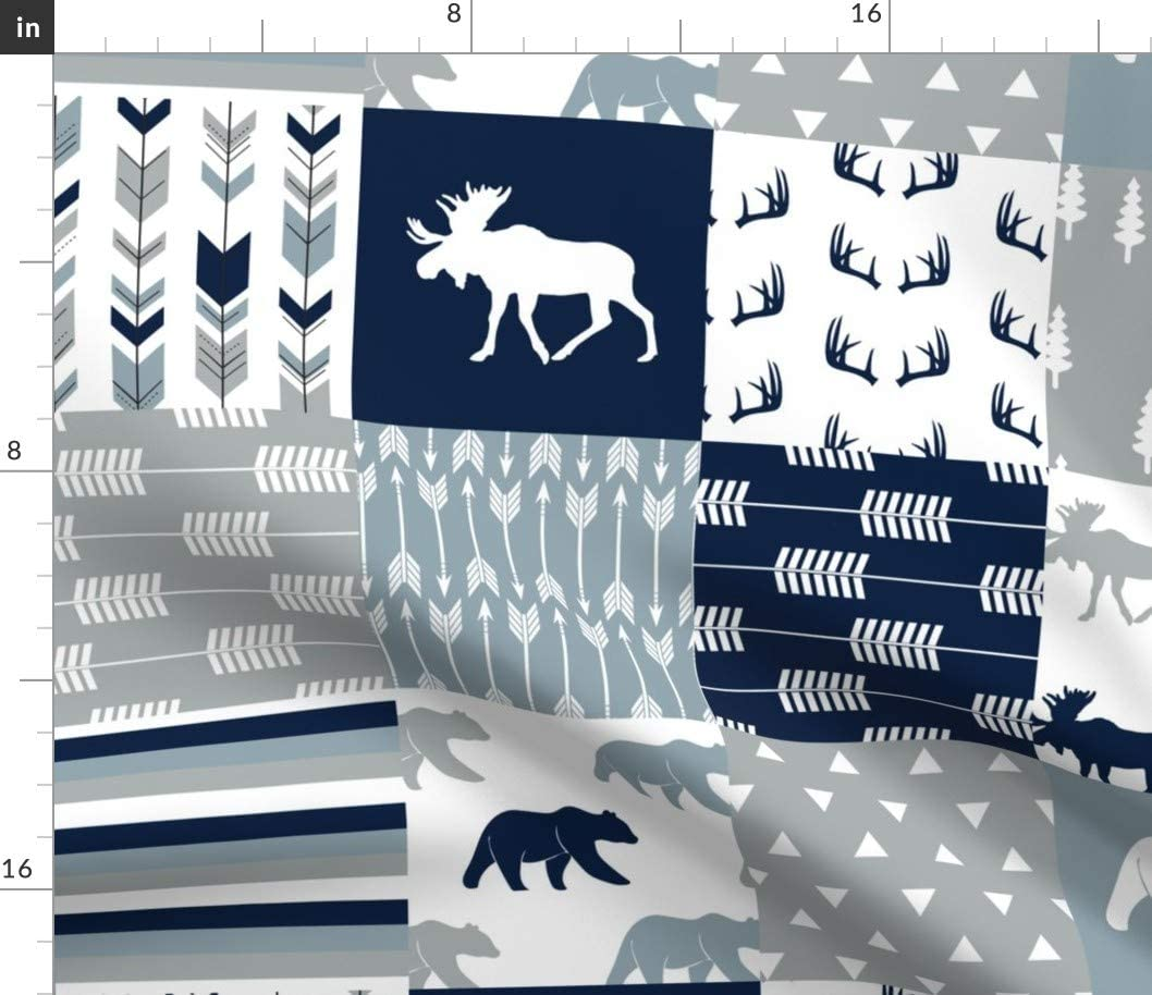 Spoonflower Fabric - Wholecloth Moose Bear Navy Rustic Woods Blue Grey Woodland Trendy Printed on Organic Cotton Sateen Fabric by The Yard - Sewing Quilting Apparel Home Decor