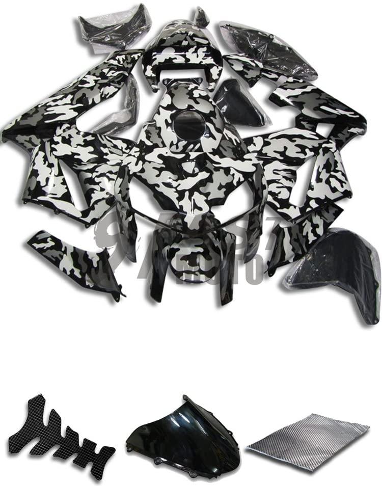 9FastMoto Fairings for honda 2005 2006 CBR600RR F5 05 06 CBR600 RR F5 Motorcycle Fairing Kit ABS Injection Set Sportbike Cowls Panels (Black & White) H1130
