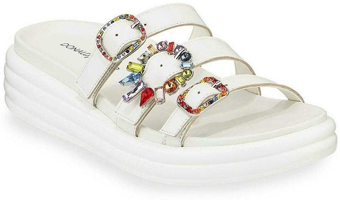 Donald J Pliner Claud Jeweled-Buckle Slide Sandals Size 8 Off White