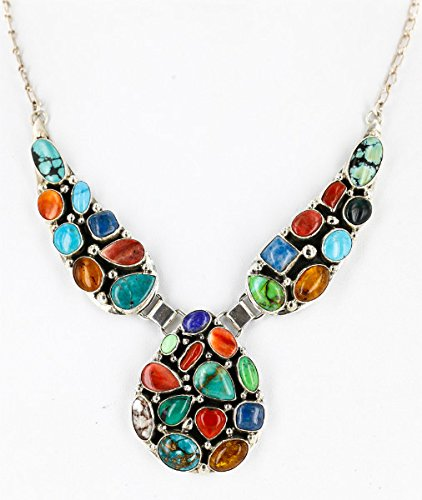 .925 Sterling Silver Handmade Certified Authentic Navajo Multicolor Coral, Lapis, Turquoise Native American Necklace