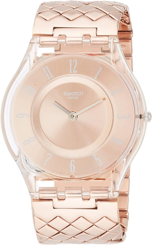 Swatch Quartz Movement Rose Gold Dial Ladies Watch SFE110GB