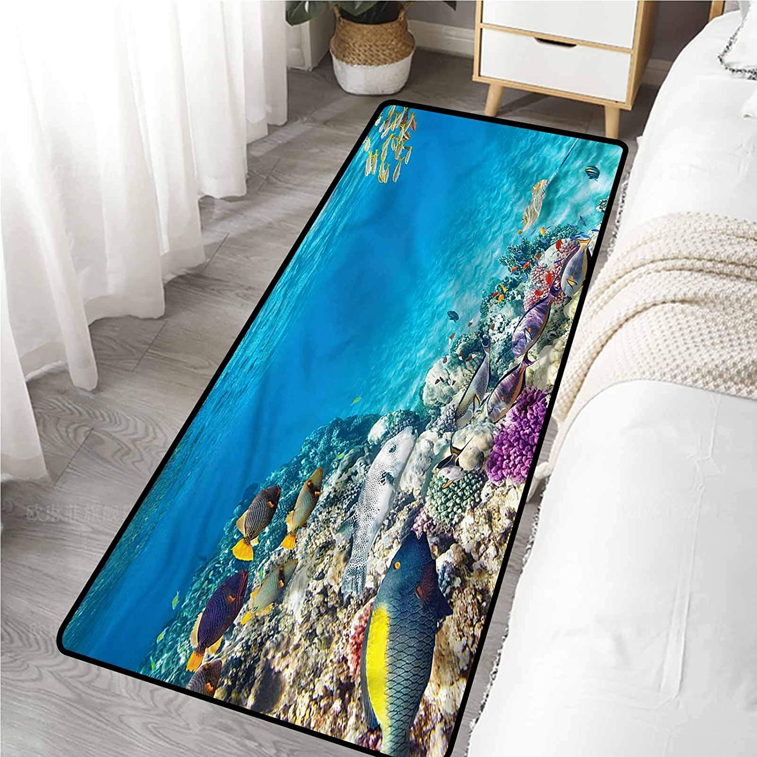Runner Rug for Hallway 20 x 59 Inch, Ocean Under The Sea Theme Shells Slip Resistant Area Rugs