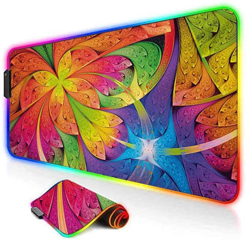 RGB Gaming Mouse Pad,Vibrant Rainbow Colored Floral Pattern with Vivid Contrast Curved Leaves Artisan Print Soft Computer Keyboard Mouse Pad,35.6