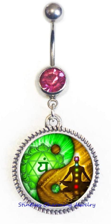 Yin Yang Chakra Belly Ring Buddha Spiritual Yoga Meditation Belly Button Ring Glass Cabochon Hope Jewelry,Yin Yang Belly Ring-JV127