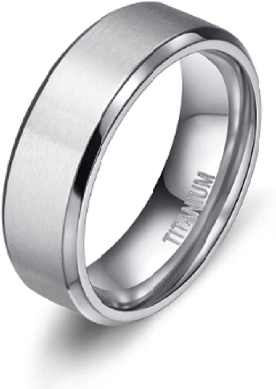 General Metallurgy Classic Beveled Titanium Wedding Band Ring (8mm Thickness)