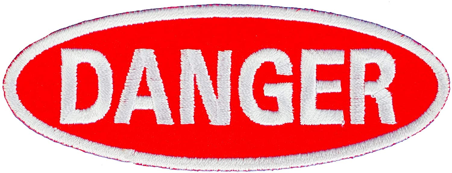 Graphic Dust Danger Iron On Embroidered Patch Sign Logo Applique Biker Motorcycle Jean Jacket Radiation Biohazard Warning