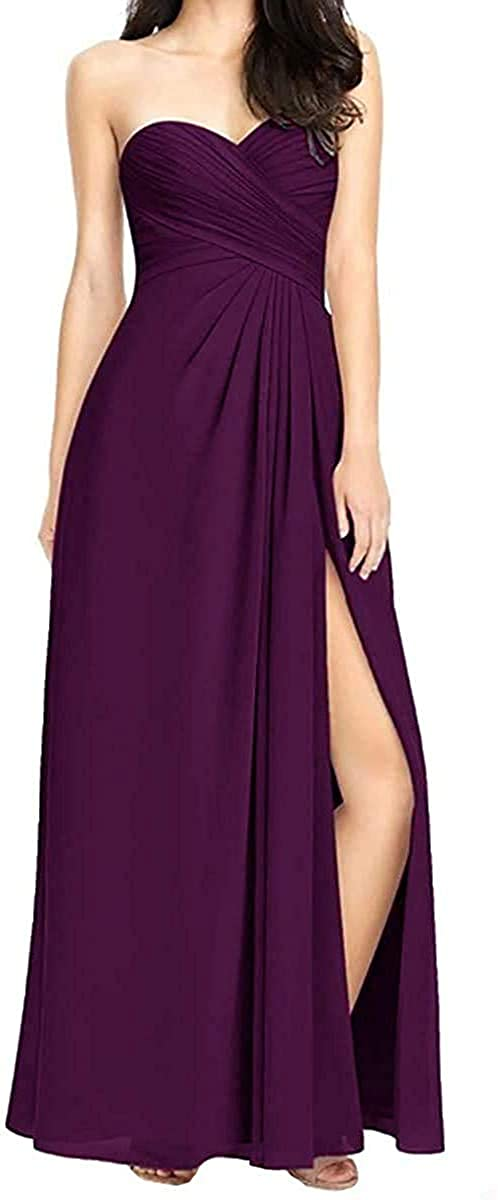 Rjer Womens Sweetheart Side Split Bridesmaid Dresses Long Chiffon Formal Wedding Party