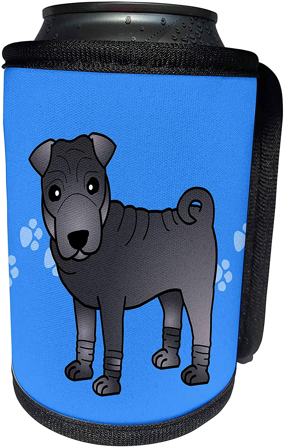 3dRose Janna Salak Designs Dogs - Cute Chinese Shar Pei Blue Coat - Blue Paw Prints - Can Cooler Bottle Wrap (cc_47617_1)