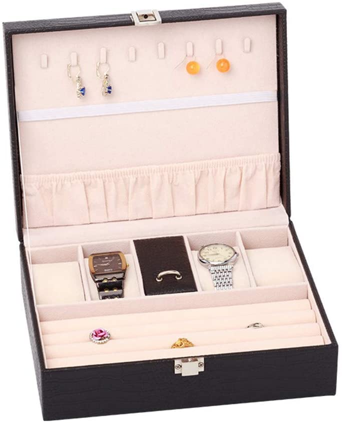 GEQWE Jewelry Storage Box Jewelry Box Jewellery Case and Display Case with Mirror for Earrings Watch Necklace Jewels Bracelets Dressing Table Jewelry Storage Box (Color : Black)