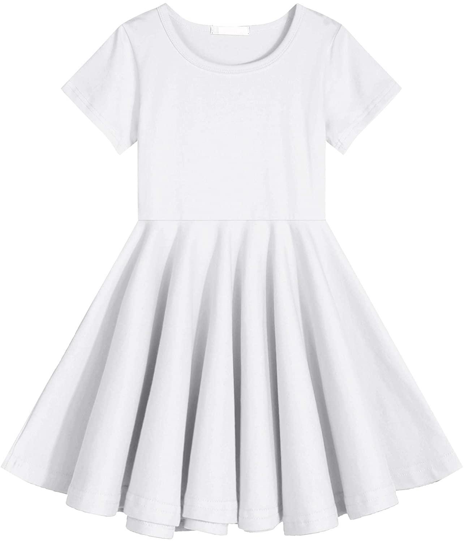 Boyoo Girls Cotton Dress Short Sleeve O-Neck A Line Swing Skat Twirl Casual Solid Dress for 3-13Y