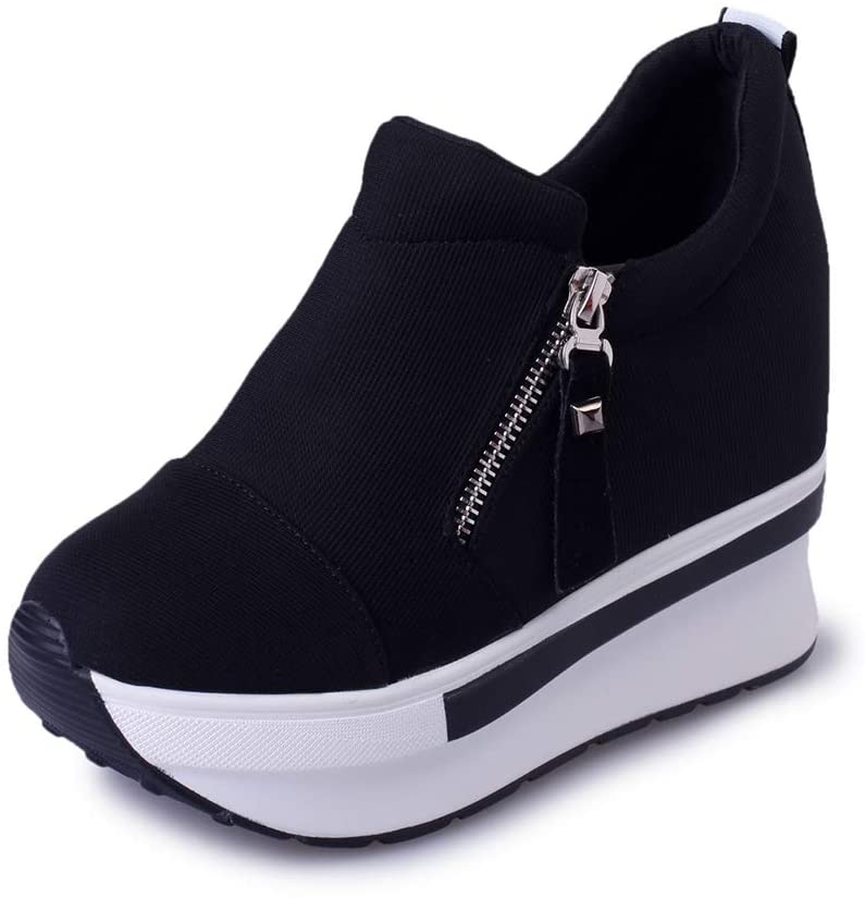 FULANTE Women's Casual Shoes, Invisible Heightening Women's Shoes, Versatile Side Zipper Sports Platform Casual Shoes,Black,40