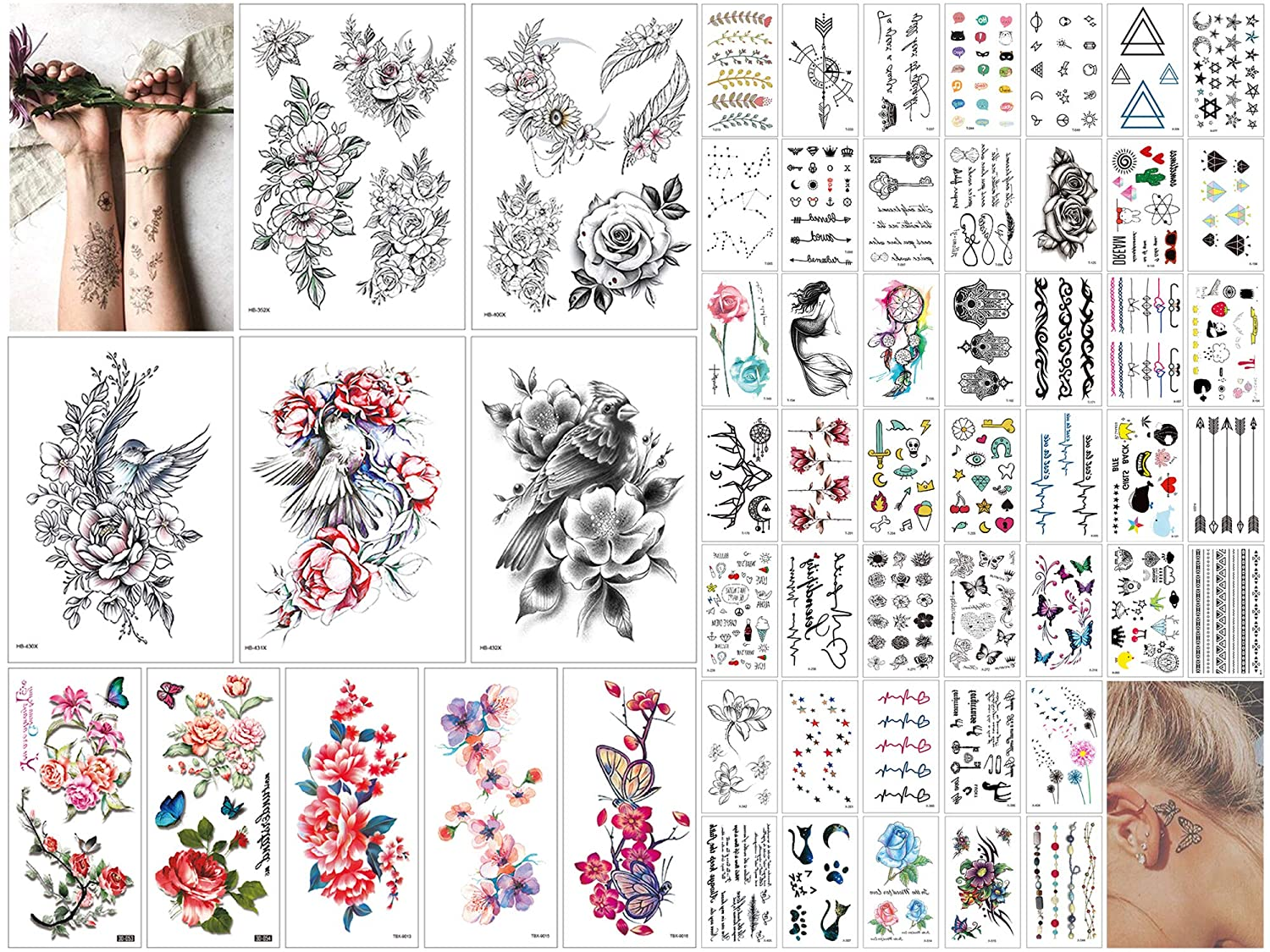 55 Sheets Butterflies Temporary Tattoos Stickers, Roses, Flowers Stickers, Mixed Style Fake Tattoo Body Art Temporary Tattoos for Women and Girls