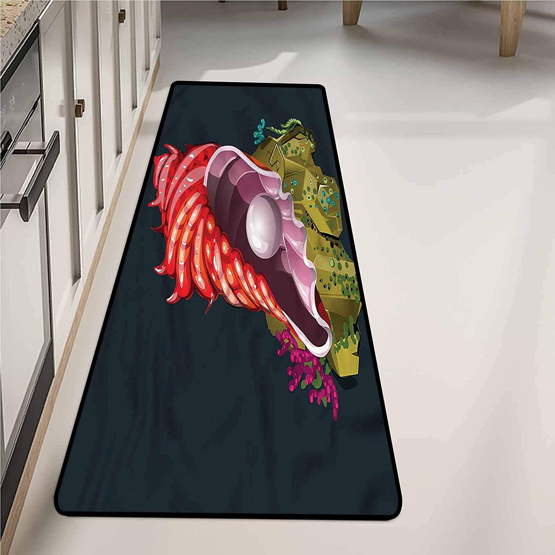 Runner Rugs 20 x 48 Inch, Pearls Underwater Shell Stone Washable Mat
