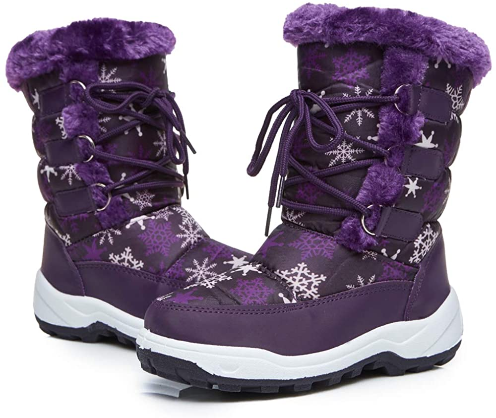 DRKA Boy's and Girl's Toddler Snow Boots with Fur Lined, Waterproof and Non-Slip Winter Boots for Toddlers and Little Kids