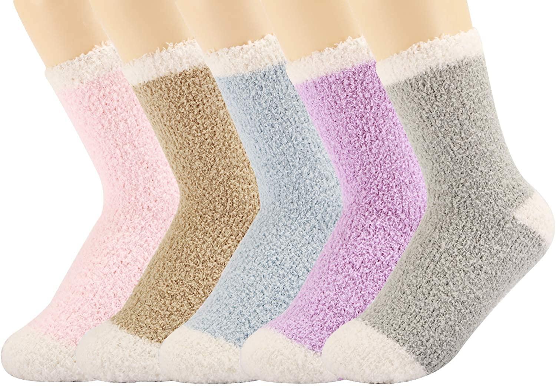 5 Pack Fun Women Girls Fuzzy Fluffy Socks, Cabin Soft Warm Slipper Crew Cute Cozy Socks