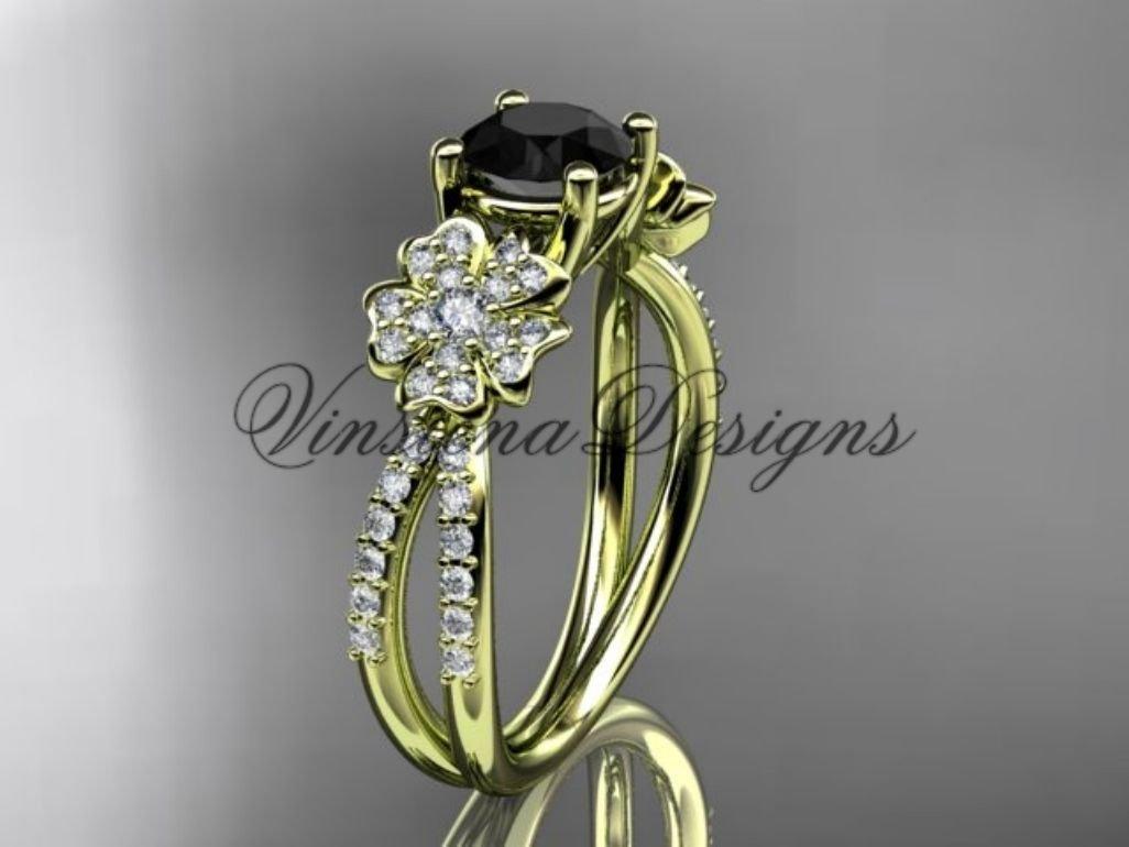 14kt yellow gold diamond Cherry Blossom flower, Sakura engagement ring Black Diamond VD8214