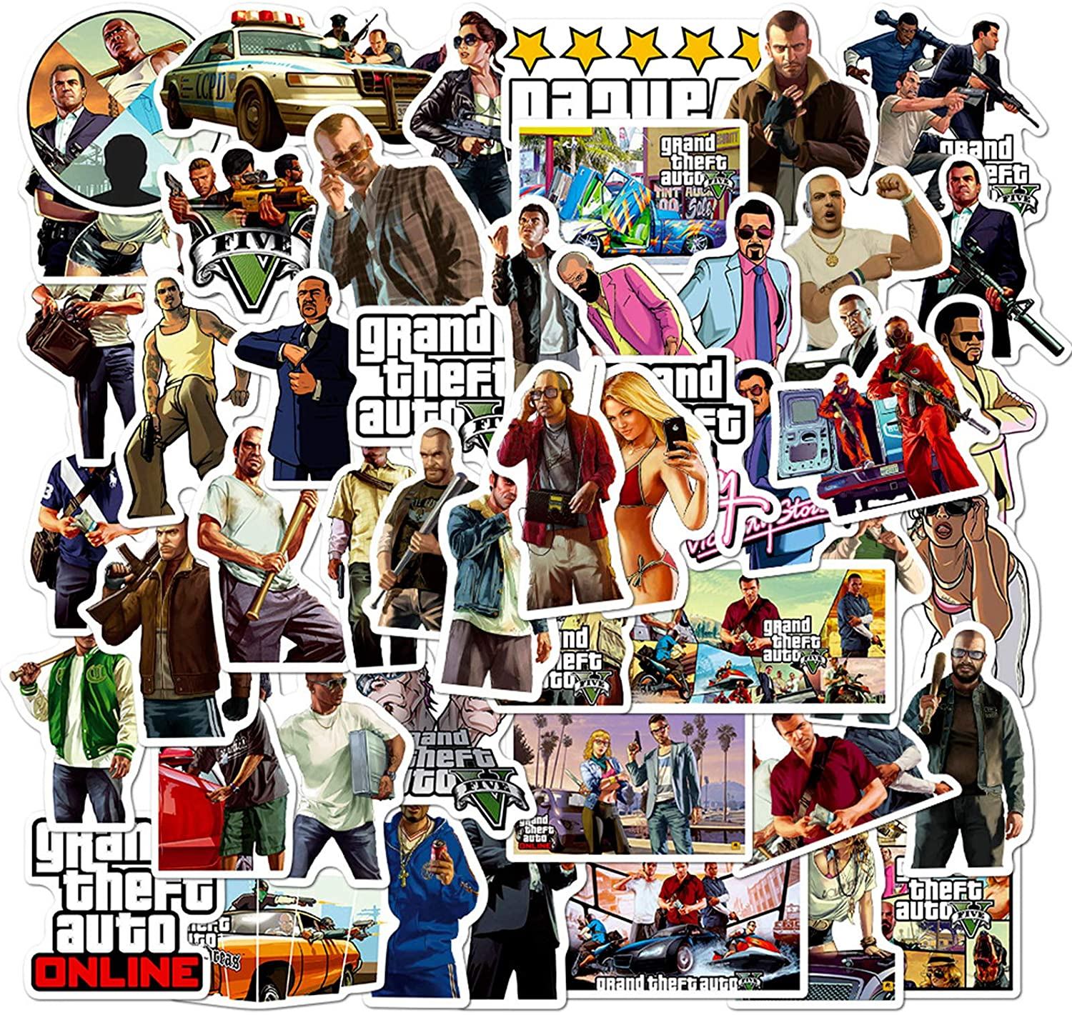 Grand Theft Auto Cool Game Stickers for Laptop Computer Phone Bicycle Motorcycle Skateboard Cars Xbox PS4 50pcs