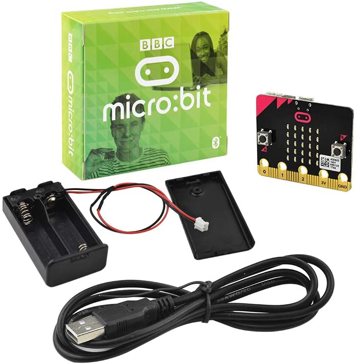 KEYESTUDIO Basic Starter Kit for BBC Micro bit, Graphical Programming Built-in Bluetooth Compass, Motion Detection, LED Display Coding for Kids Teens + Battery Holder & USB Cable for Microbit