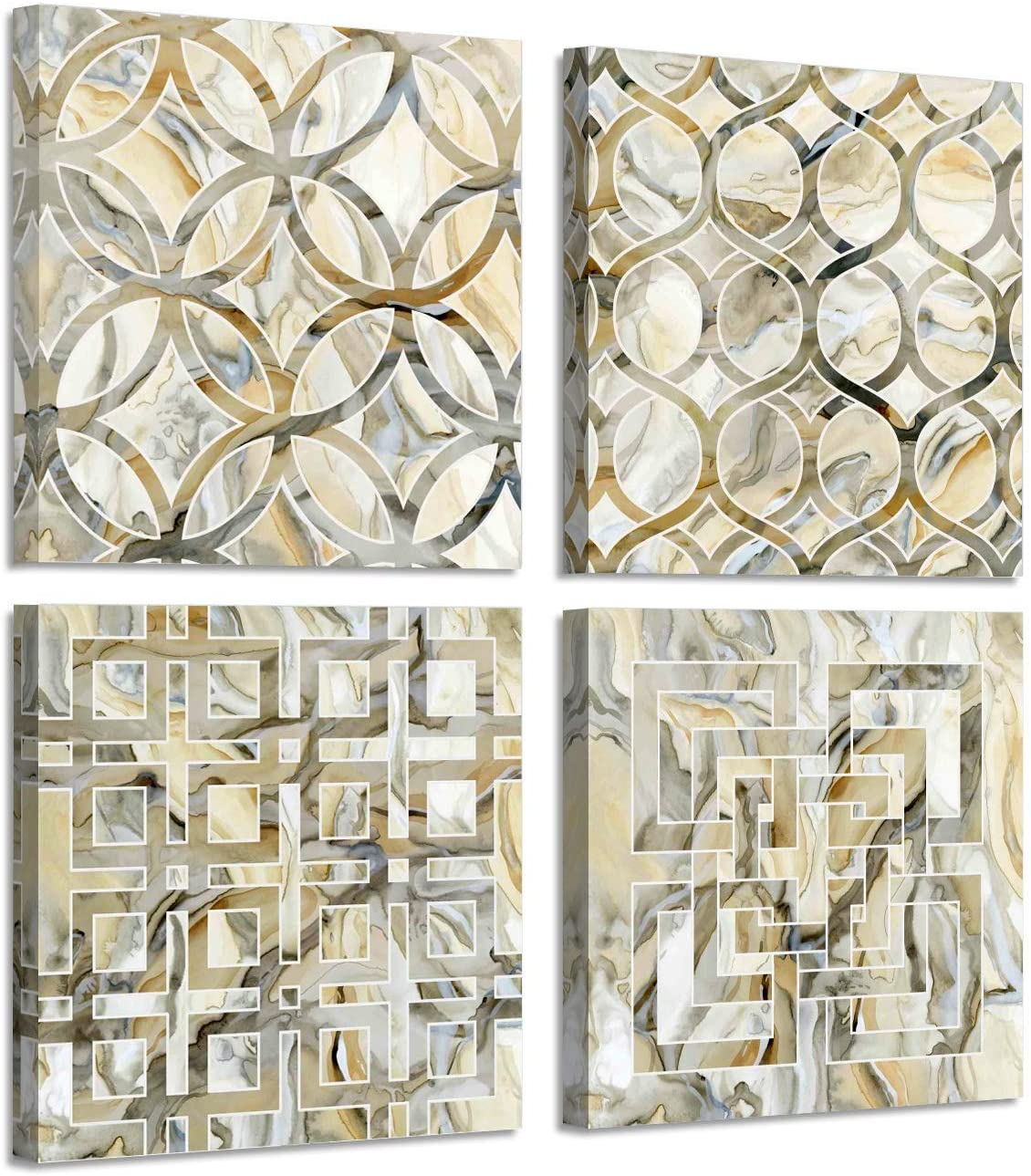 Abstract Vintage grid Pattern Abstract Paintings Canvas Wall Art for Living Room Bedroom Artwork Pictures 4 Piece Ready to Hang for Home decor Bathroom Kitchen Office Wall decor posters Decoration