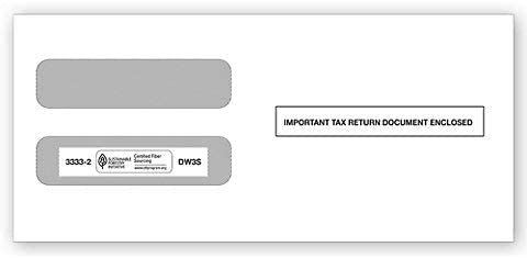 W-2 Tax Envelopes for 3-Up Horizontal, Double Window Self-Seal Security Envelope, W-2 Tax Forms Pack of 50 Envelopes 2020