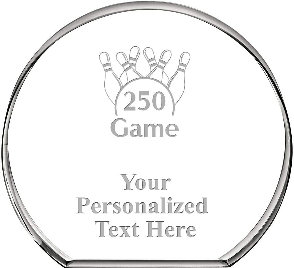 Crown Awards Bowling 250 Game Standing Circle Paperweight, Custom Engraved Bowling Crystal Paperweight Gift Prime