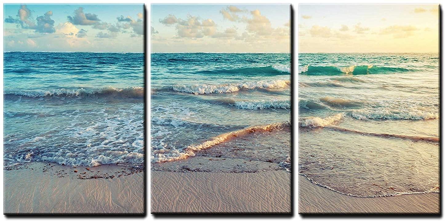 wall26 - Sunrise on Atlantic Ocean - Canvas Art Wall Art - 24x36x3 Panels