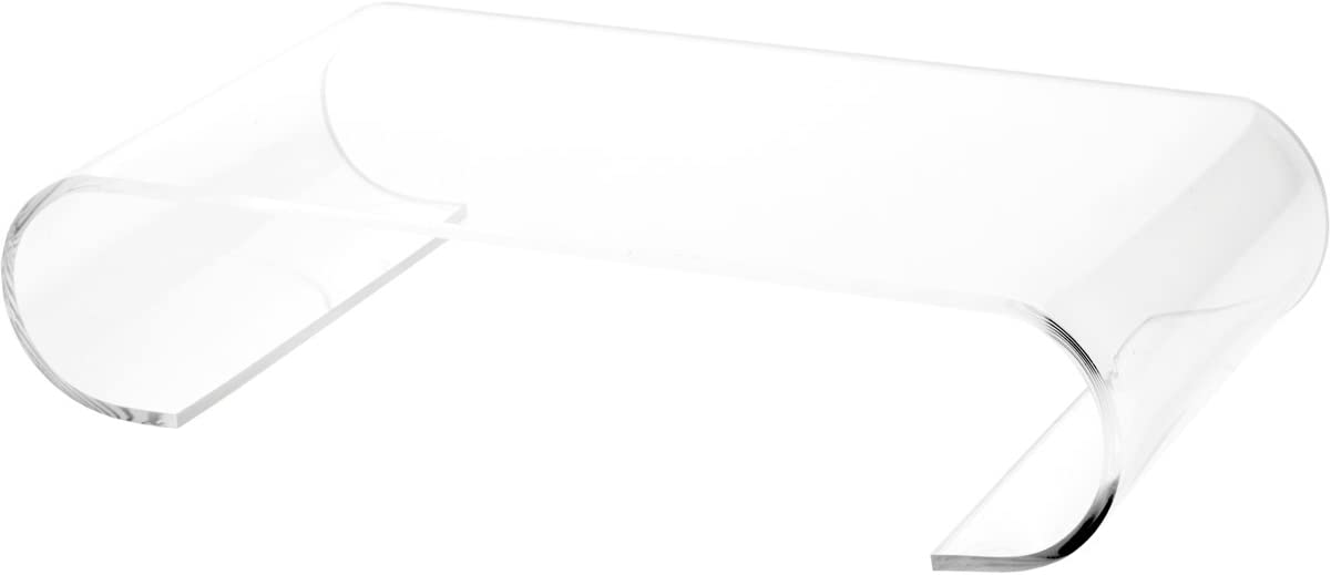 Plymor Clear Acrylic Scroll-Shaped Display Riser, 3 H x 12 W x 7 D