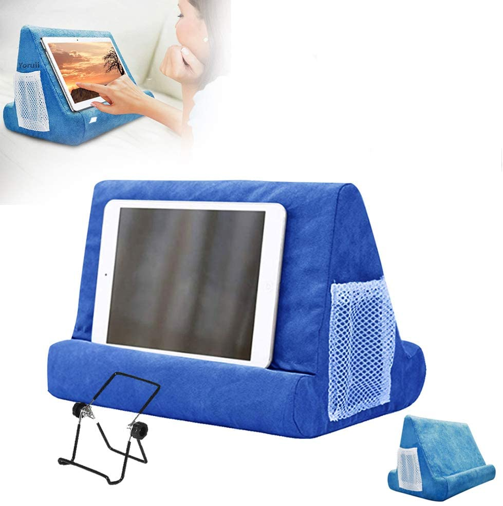 Tablet Pillow Stand for IPad Phone Pocket with Black Clip Removable Lap Stand Multi Angle-Soft Tablet Holder Suitable for Various Models of Tablets or Mobile Phones