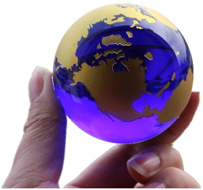 Crystal Glass Marbles Earth Globe World map Quartz Crystals Sphere Terrarium Desk Ornaments Nautical Home Decor (Gold)