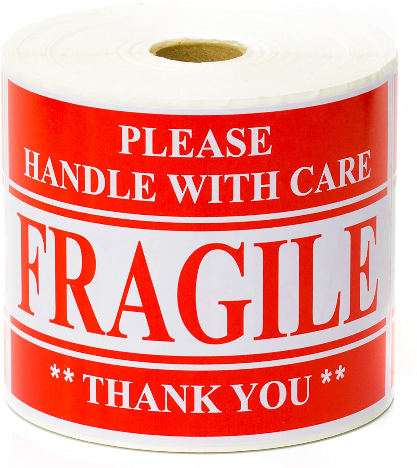Fragile Stickers - Extra Large - Please Handle with Care Labels - 4x6 Inches - 500 Labels/Roll (1 Roll)