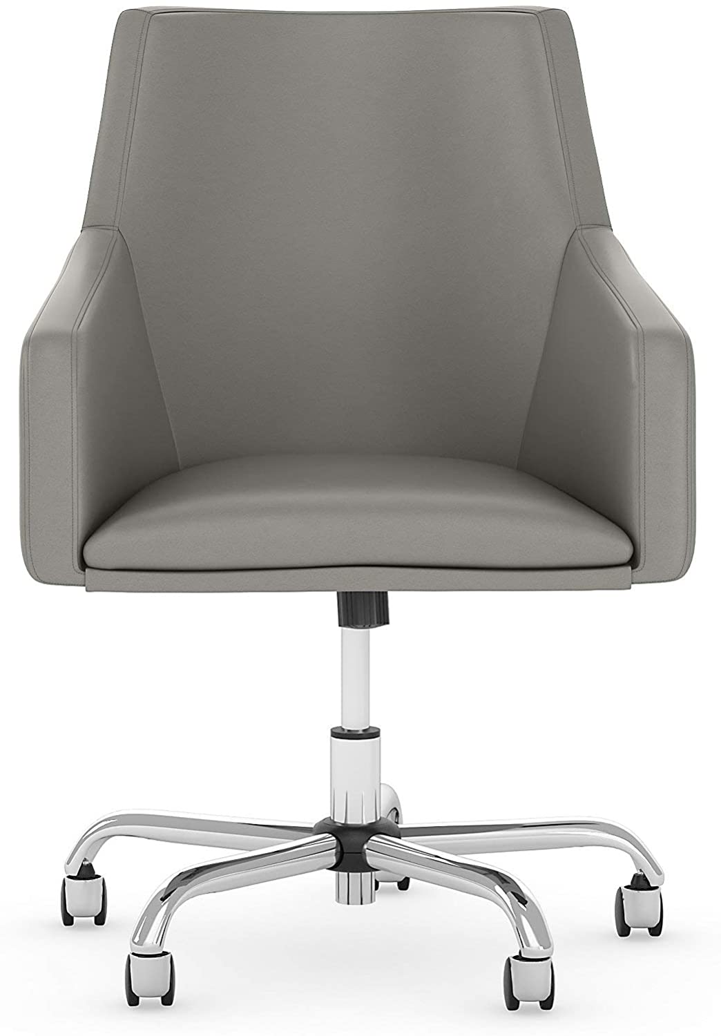 Bush Furniture Cabot Mid Back Leather Box Chair in Light Gray