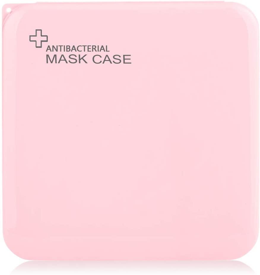KINMAD Portable Mask Storage Bag Case Masks Organizer Keeper for Mask Pollution Prevention, (Pink, 13 x 13cm)