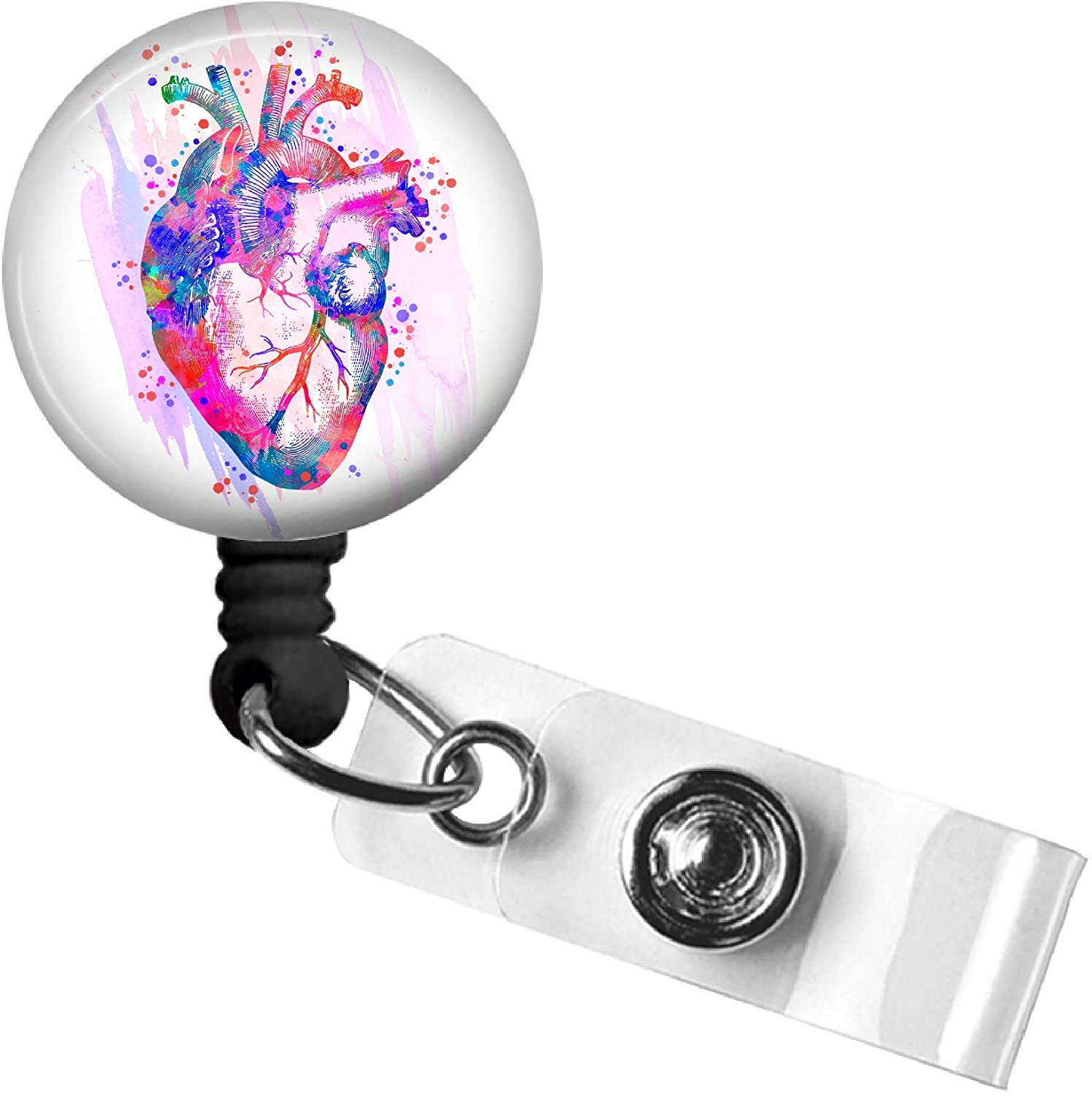 Anatomical Heart Retractable ID Badge Reel, Cardiology Swivel Alligator Clip, 34in. Nylon Cord, Medical MD RN Nurse Badge ID, Badge Holder, ID Badge Pull