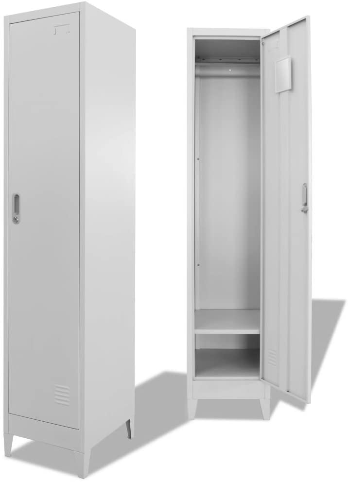 Festnight Office Storage Lockers Metal Locker Cabinet Steel Locker Cabinet Tall Locker Storage Cabinet Office Vertical File Cabinet with Lockable Door(15