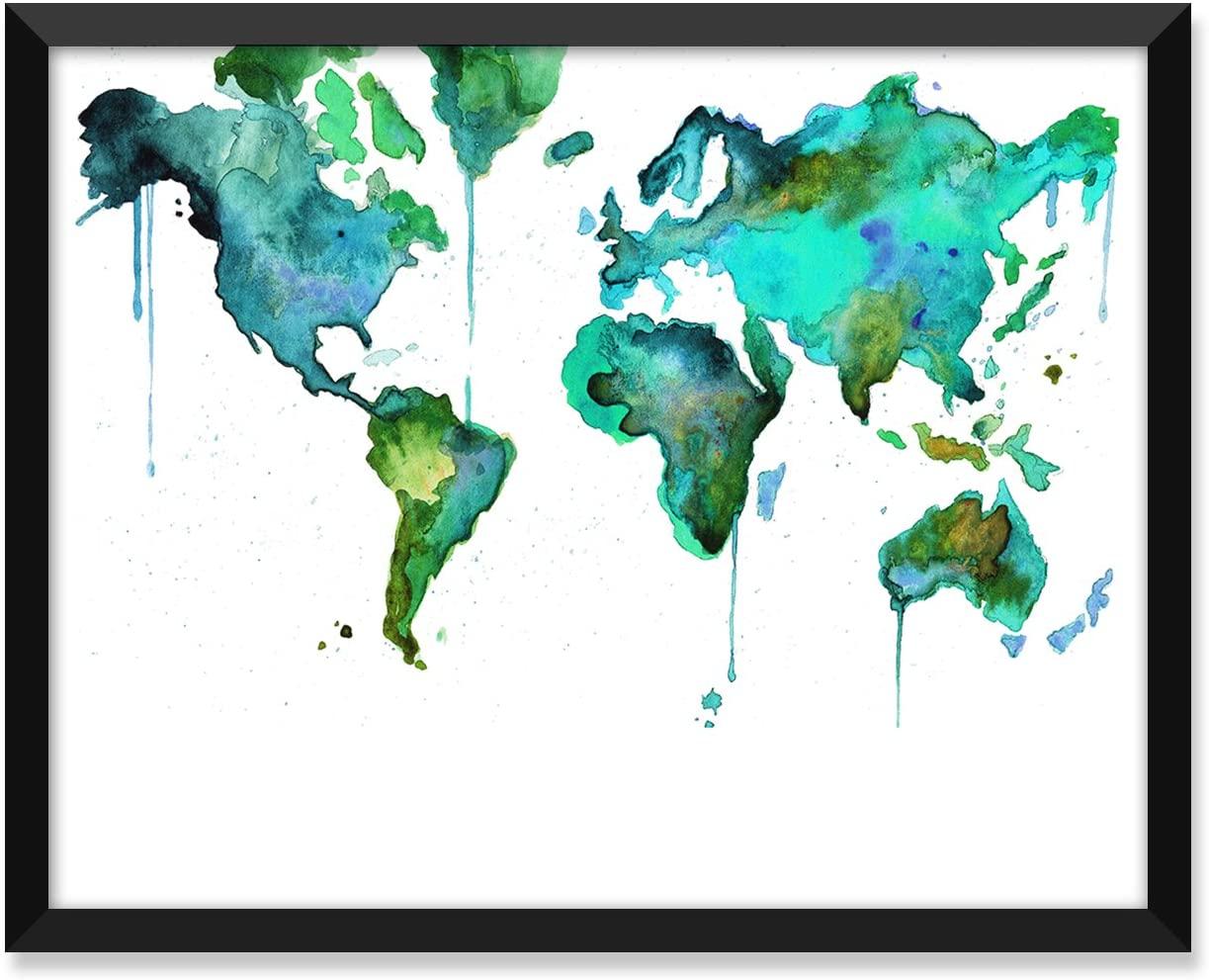 Serif Design Studios World Map Blue Green Watercolor, Travel Poster, Minimalist Poster, Home Decor, College Dorm Room Decorations, Wall Art