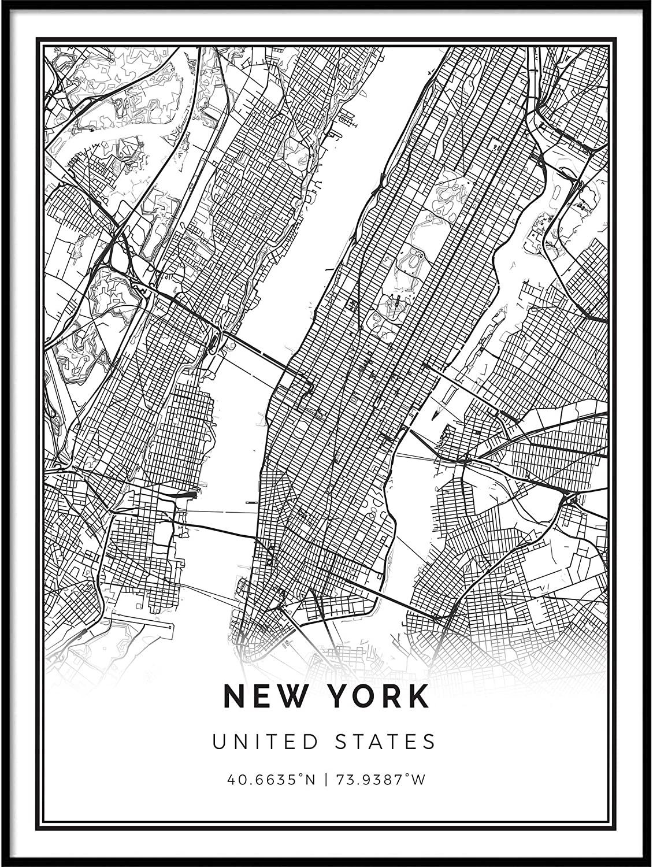 Squareious New York map Poster Print   Modern Black and White Wall Art   Scandinavian Home Decor   United States City Prints Artwork   Fine Art Posters 24X36