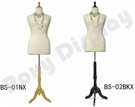(JF-F14/16W+BS-01NX) Female White Body Form with nature wooden Base+Cap, solid foam.