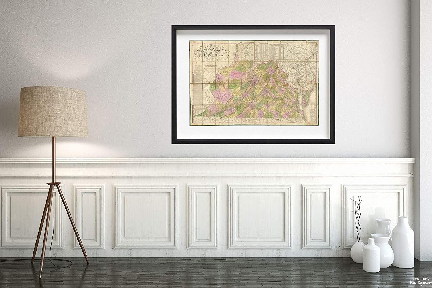 Map|A of The State of Virginia 1827|Historic Antique Vintage Reprint|Size: 16x24|Ready to Frame