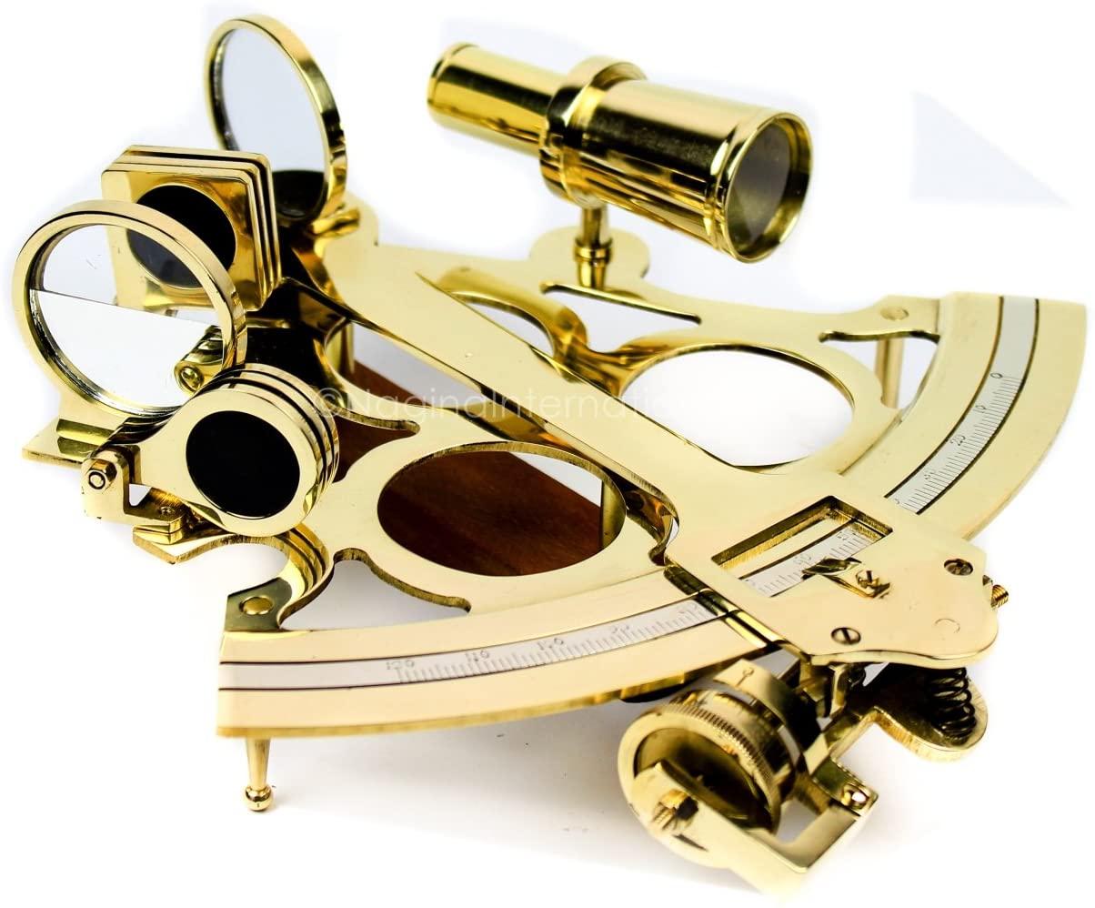 Nagina International Nautical Brass Polished & Antique Marine Navigation Sextant (1 Inches, Polished Brass)