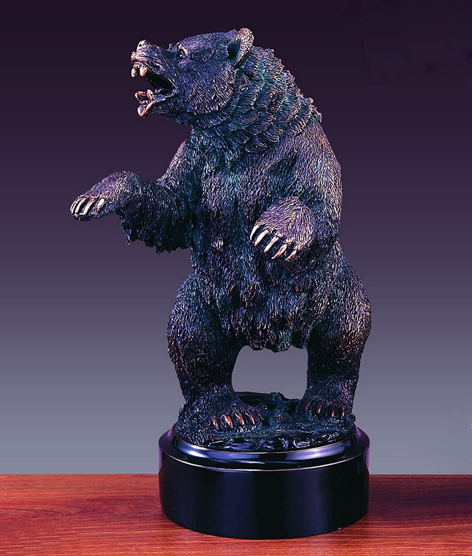 Growling Bear Statue -Bronze Finished Bear Sculpture