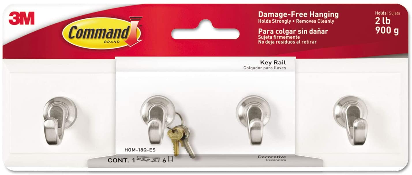 3M Command HOM18QES Decorative Key Rail, 8w x 1 1/2d x 2 1/8h White/Silver, 4 Hooks/Pack