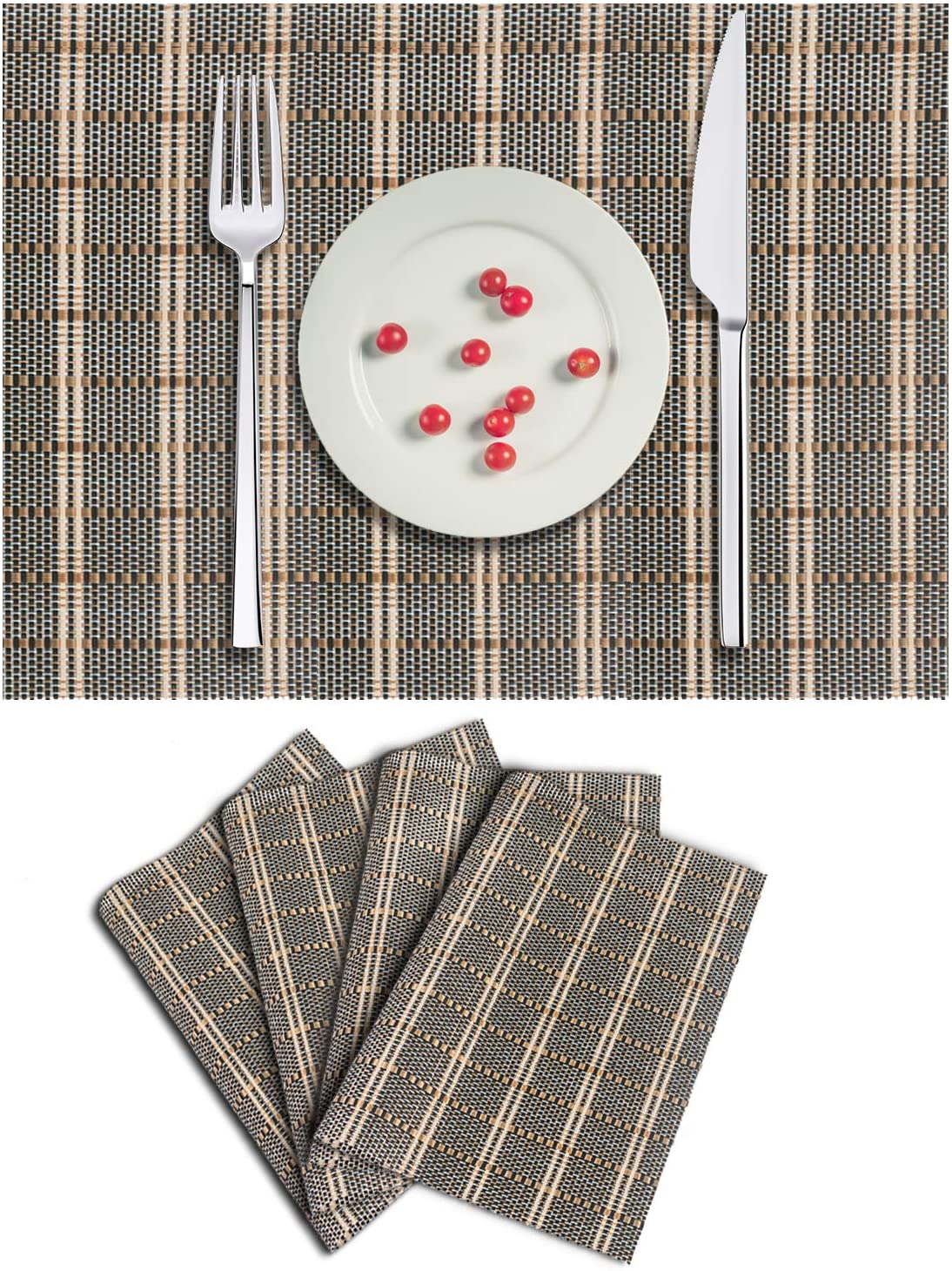 Polytable Placemats Stain Resistant Anti-Skid Washable PVC Table Mats Heat-resistand Woven Vinyl Hard Placemats, Set of 6