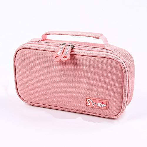 Multifunctional Pencil case, Large-Capacity Portable Stationery Bag, Storage Box, Cosmetic Bag, Canvas Large Storage Stationery Box, School Office Zipper (Pink)
