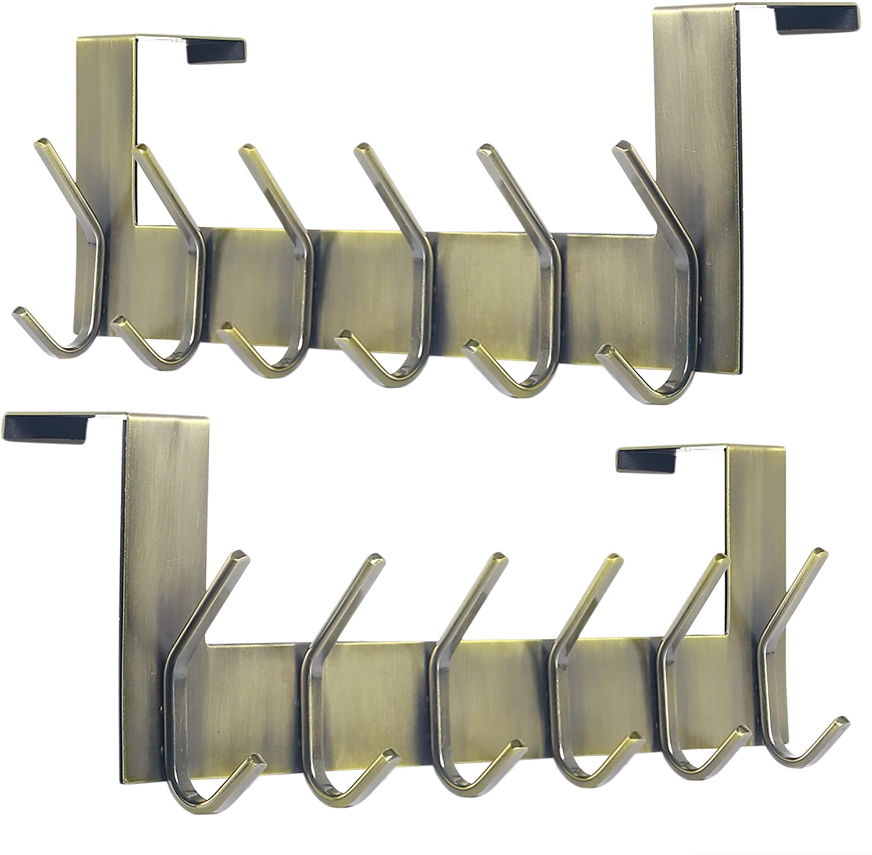 Dseap Over The Door Hook Hanger - 6 Hooks Over Door Coat Rack for Hanging Clothes Hat Towel, Bronze, 2 Packs