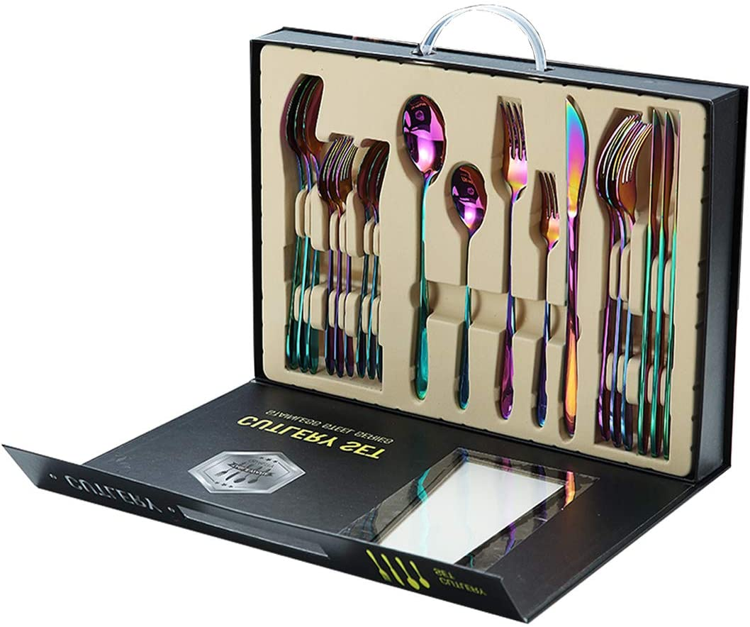 Rainbow Silverware Set, 20 Piece Stainless Steel Flatware Set, Kitchen Eating Utensils service for 4, Dishwasher Safe Tableware, Mirror Finish Cutlery Set, Korean Style, Include Knives, Forks, Spoons