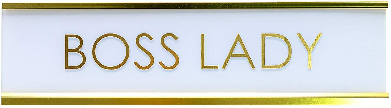 Signs ByLITA Boss Lady White Gold Novelty Desk Sign