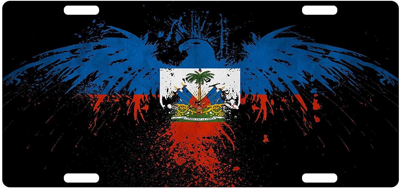 Fast Service Designs Haiti Flag Custom License Plate Haitian Creole Emblem Version # 2