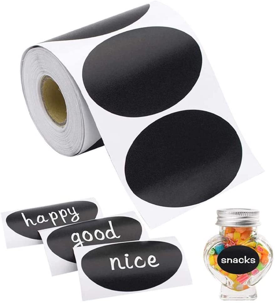 Chalkboard Labels, Reusable Blackboard Stickers Marker in Oval Shape, Removable Waterproof Blackboard Labels for Labeling Mason Jars, Parties, Craft Rooms and Organize Home & Kitchen