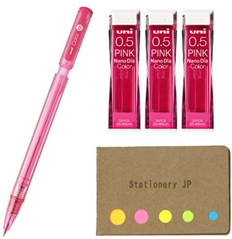 Uni Color Mechanical Pencil 0.5mm Pink & NanoDia Color Mechanical Pencil Leads 3-Pack/Total 60 Leads, Sticky Notes Value Set